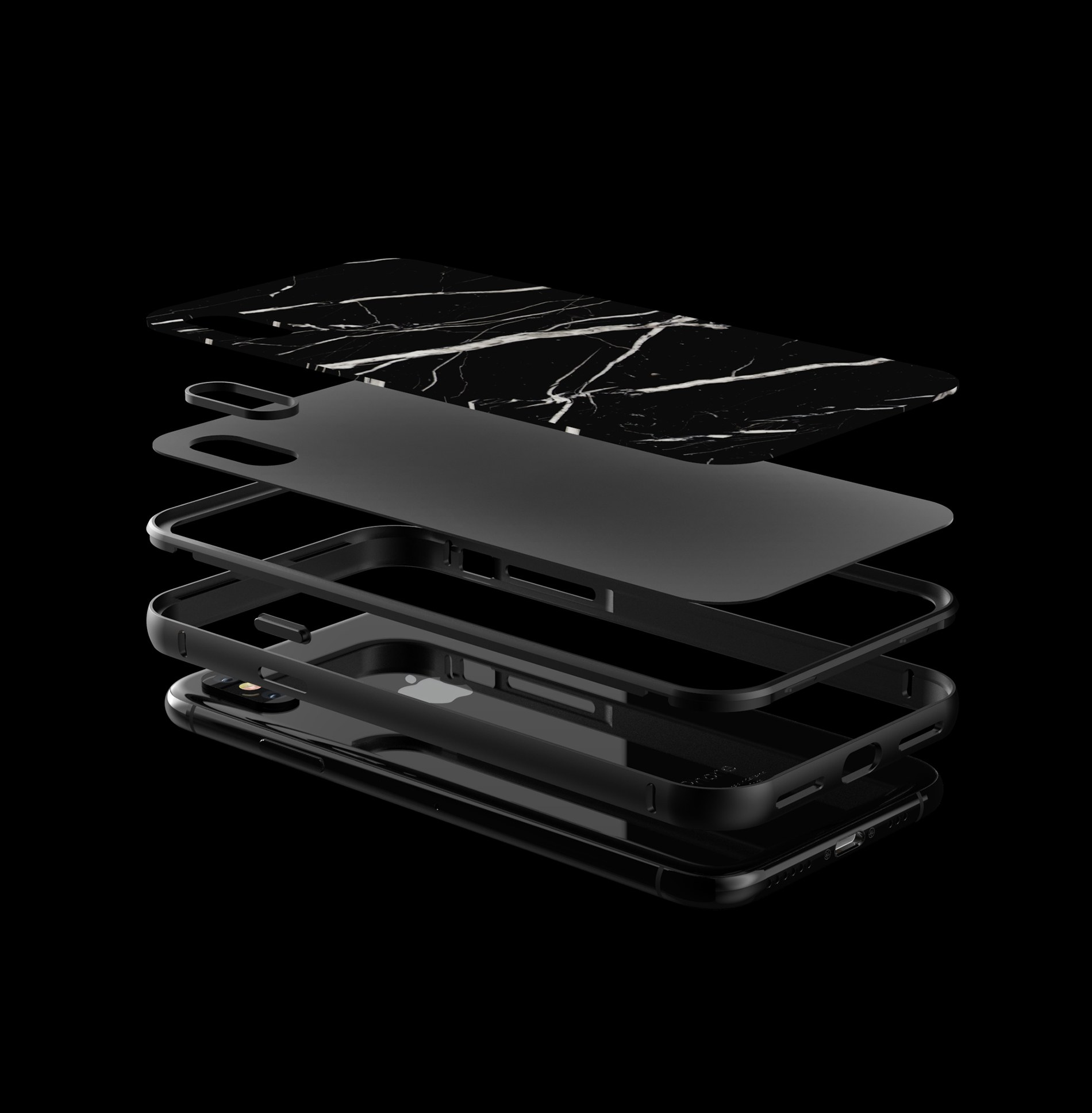 layers of the aluminum body which is used for the real stone phone case