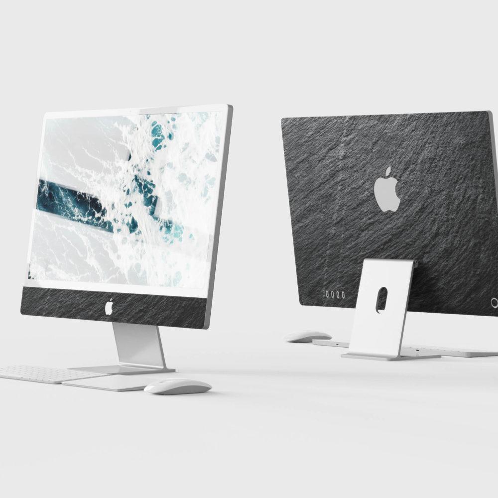 Nuova iMac Skin vera pietra ardesia in ardesia nera realizzata da Roxxlyn