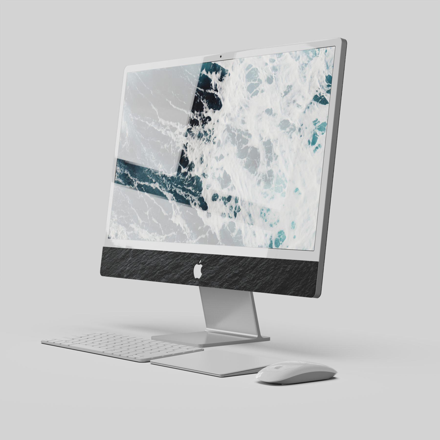 New iMac 2021 Skin Top view black slate by Roxxlyn