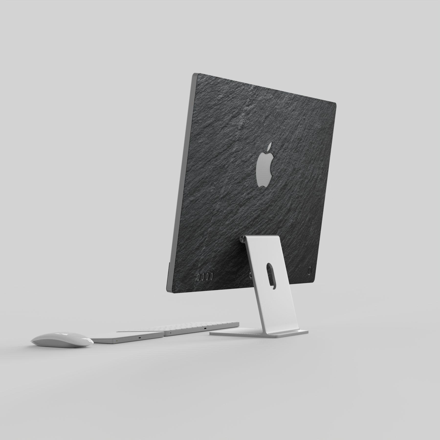 New iMac skin back view with black real slate stone made by Roxxlyn